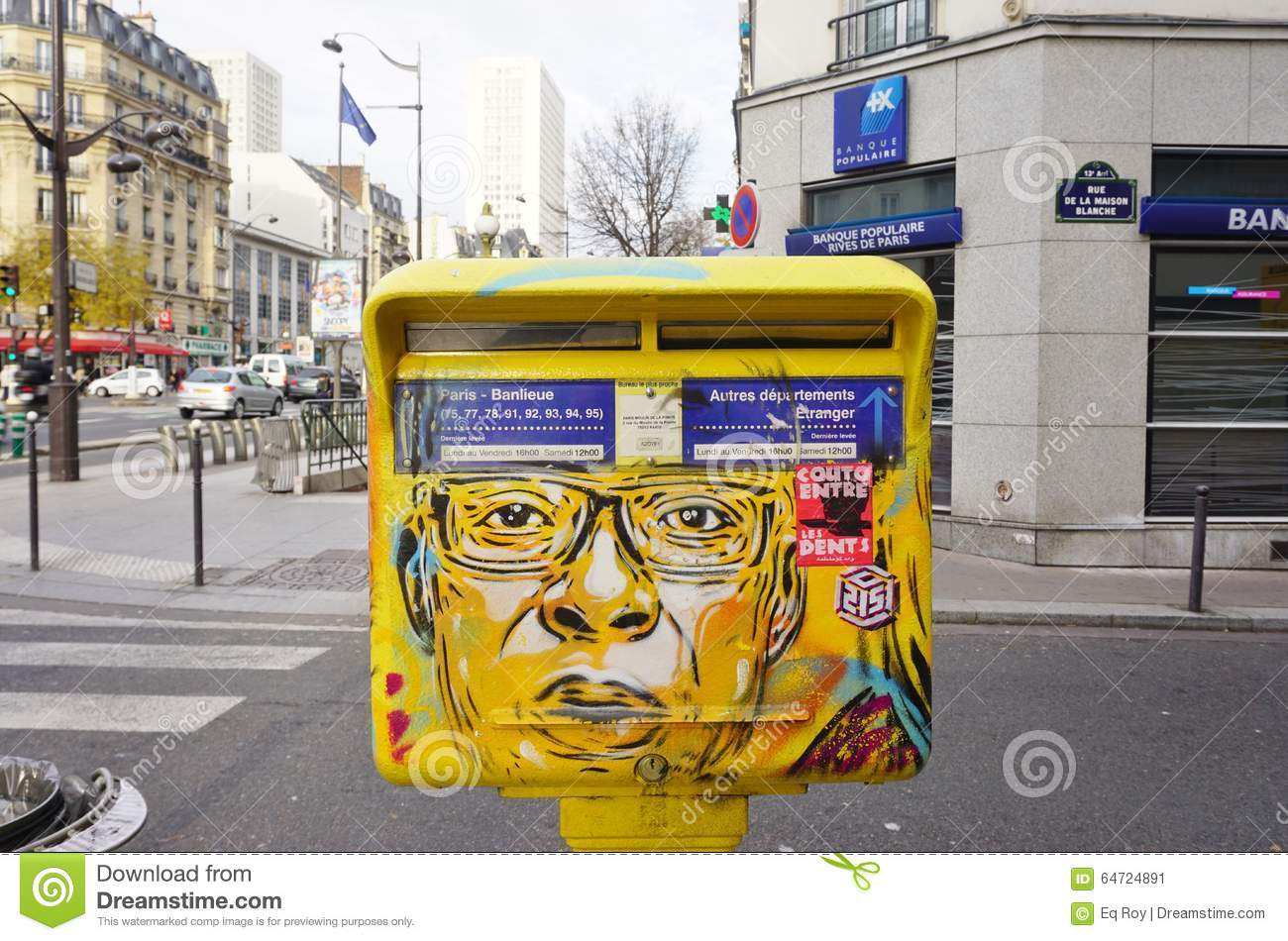 painted yellow mailbox covered with street art by french graffiti muralist c215 in paris. Black Bedroom Furniture Sets. Home Design Ideas