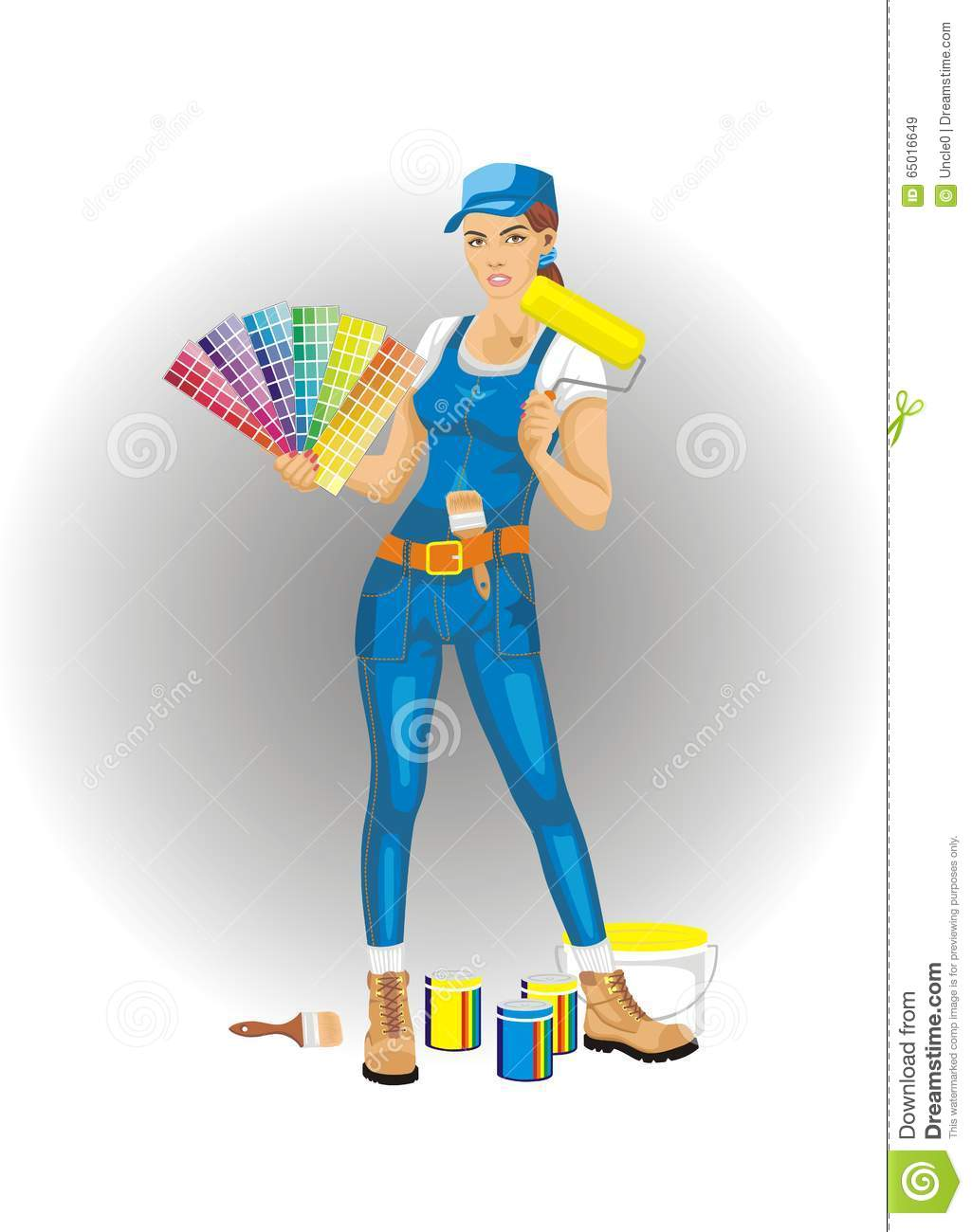 decor and paint female photo painter decorator brush holding overalls braces wearing ladder stock bib