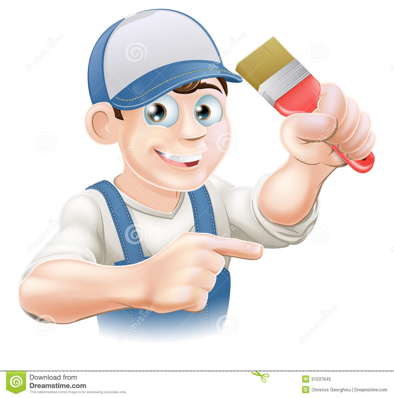 Painter Decorator Pointing Stock Vector. Illustration Of