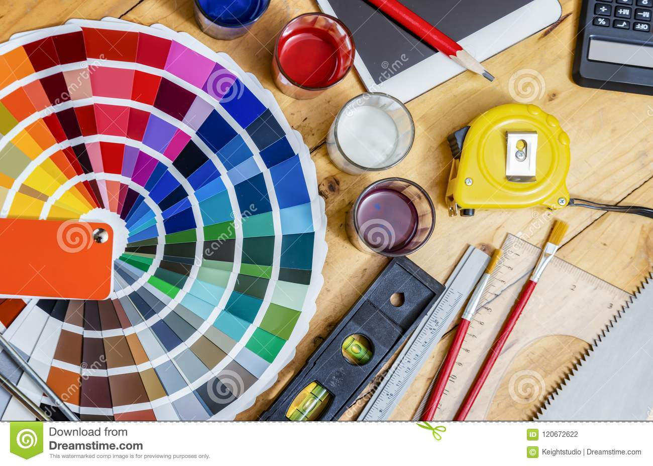 Painter And Decorator Work Table With House Project Color Swatchesใ