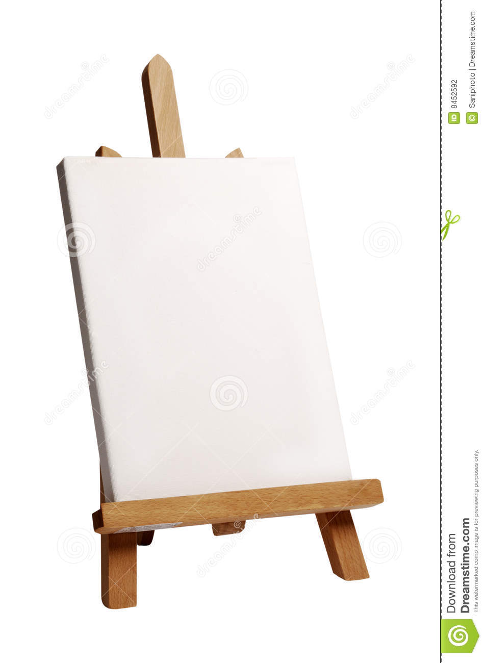 Wood painting easel with a blank canvas on it, standing against a ...
