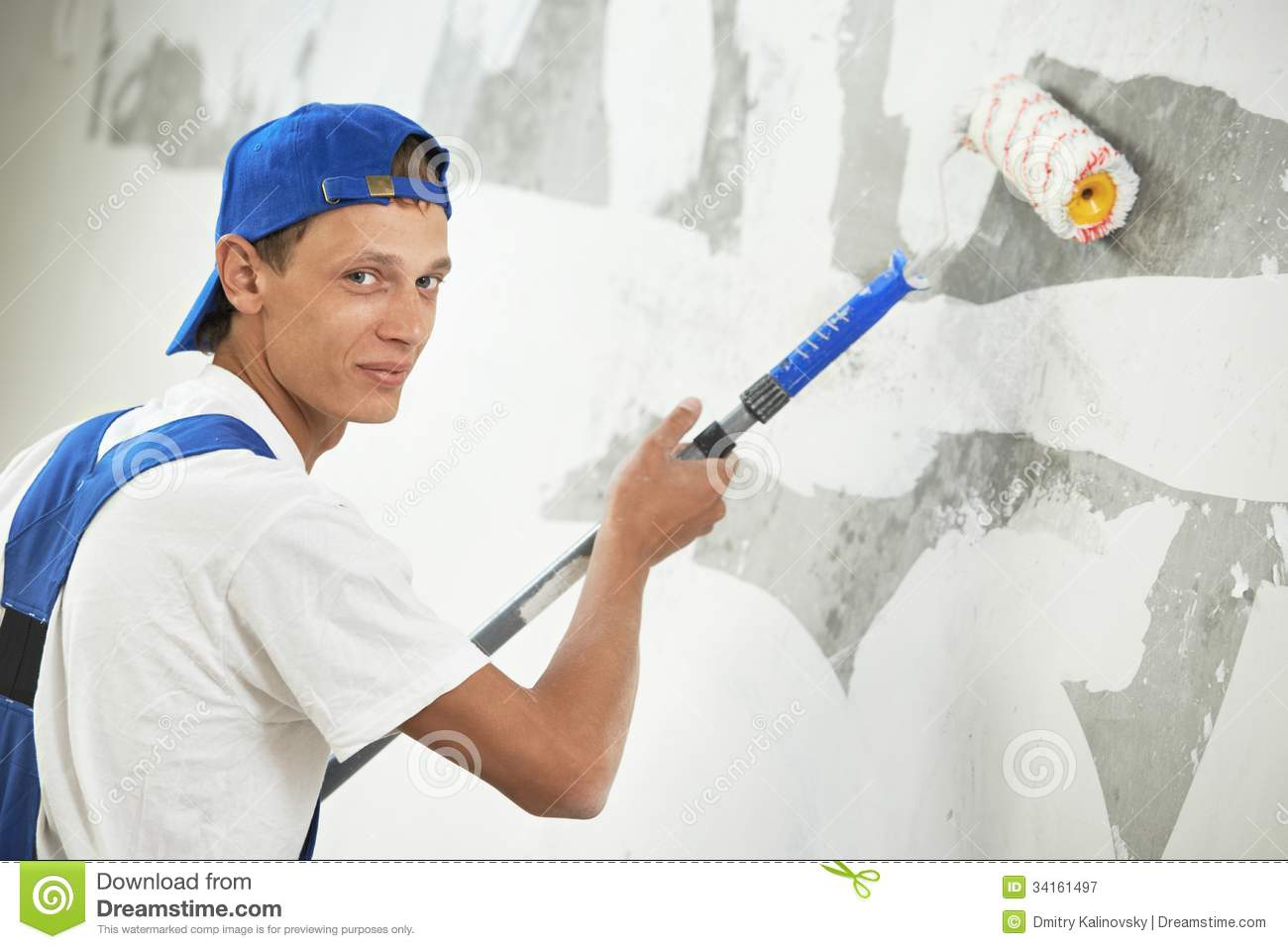 Painter At Home Renovation Work With Prime Royalty Free