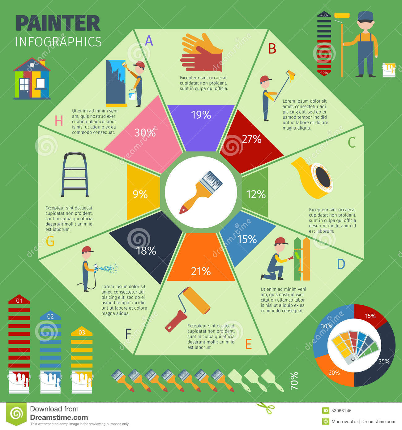 Painter Infographic Presentation Poster Stock Vector ...