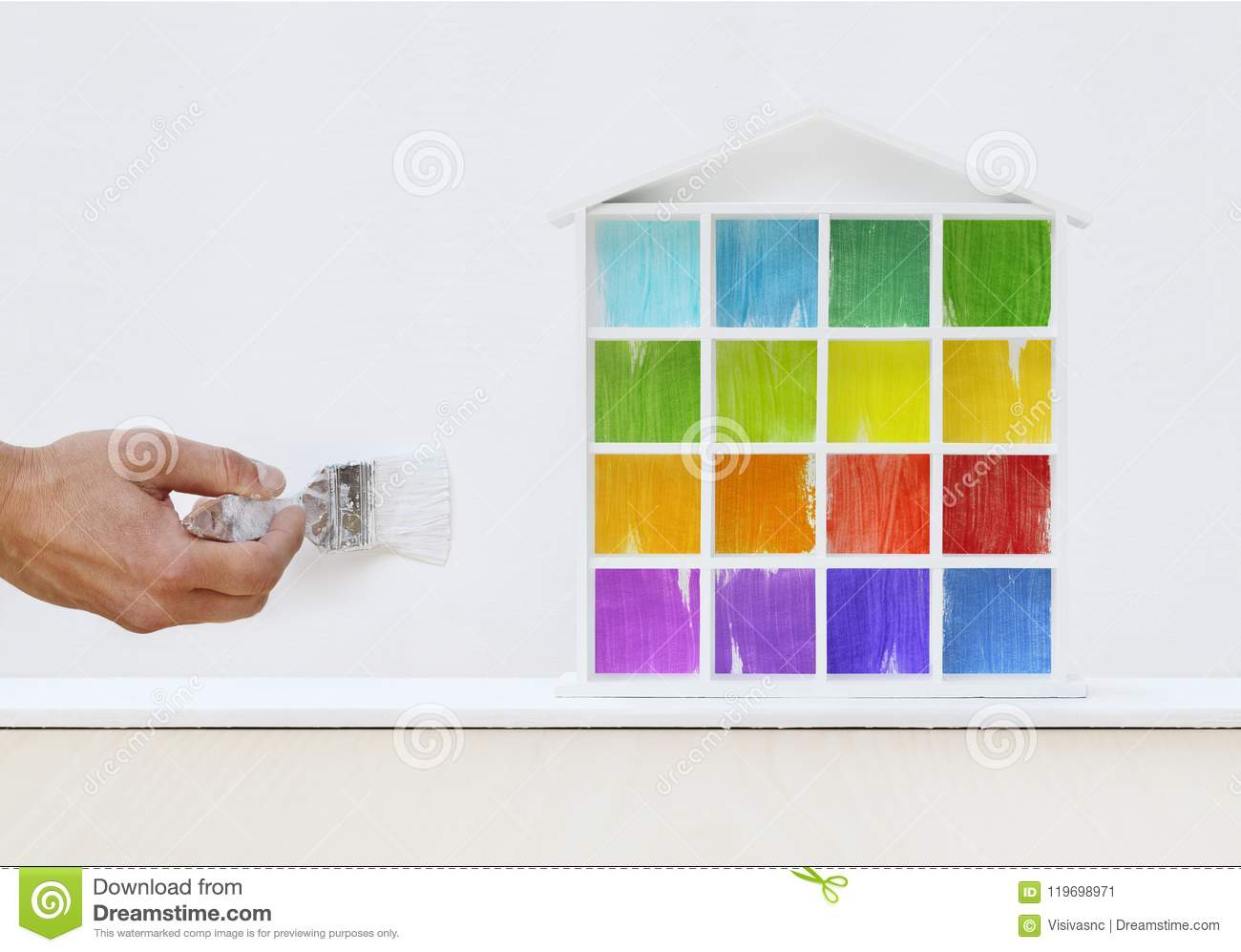 Download Painter Man Hand With Paint Brush Painting Colored House Model O Stock Image