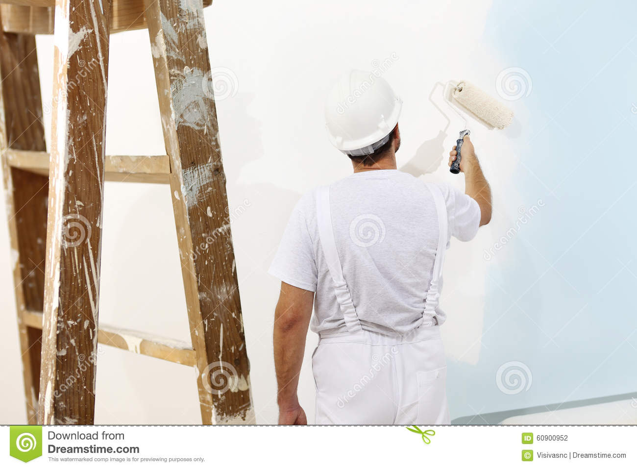 Painter And Decorator Prices >> Painter Man At Work With A Paint Roller, Wall Painting Stock Photo - Image of ladder ...