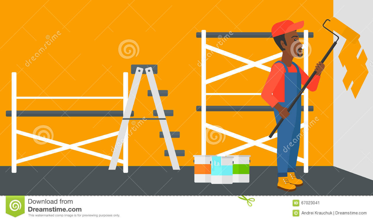Painter With Paint Roller Stock Vector Illustration Of Layout