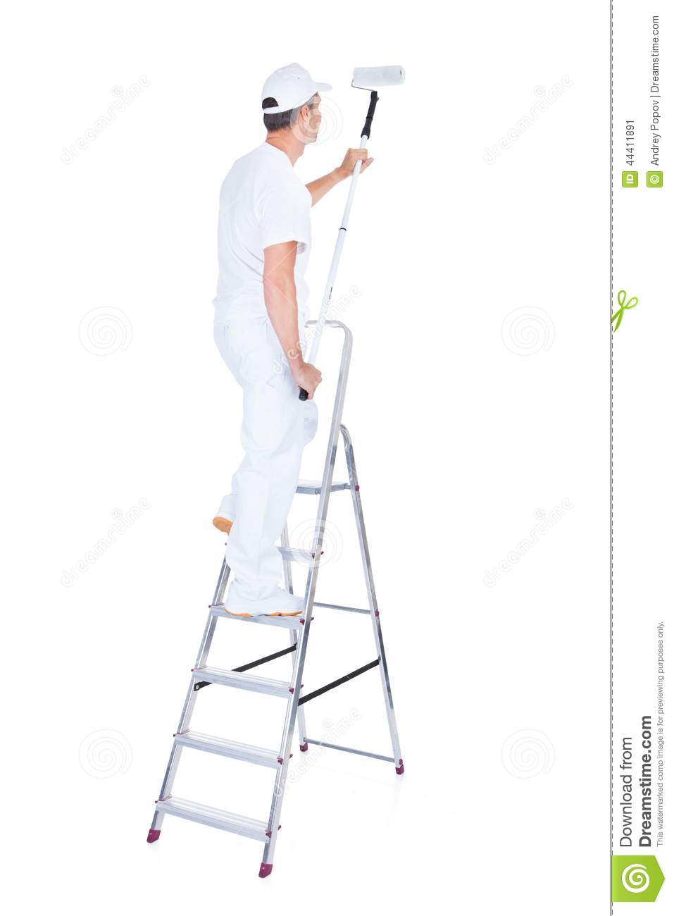 Painter And Decorator Prices >> Painter With Paint Roller And Ladder Stock Image - Image of ladder, decorator: 44411891