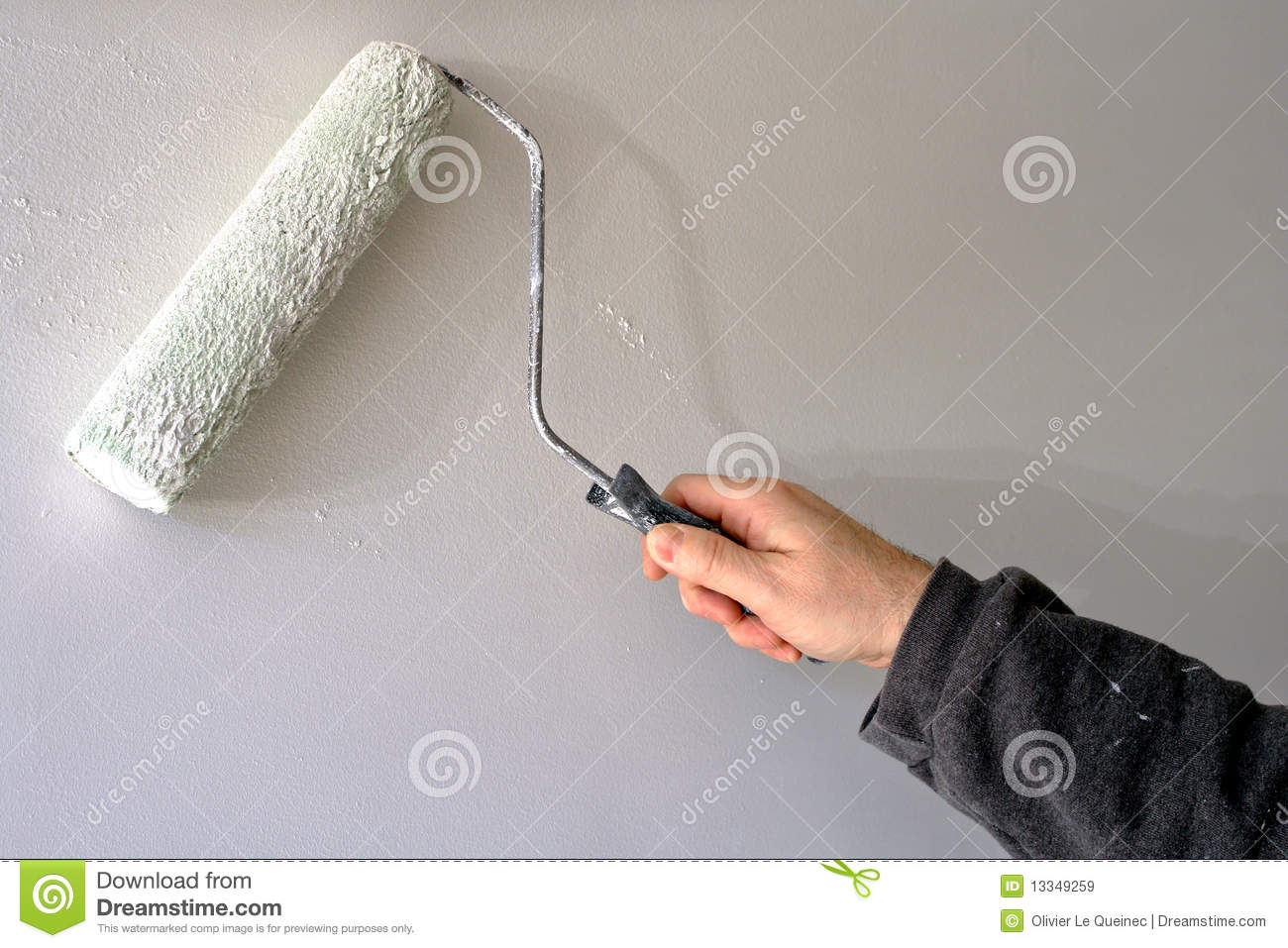 Painter Painting A House Wall With A Paint Roller Royalty Free ...