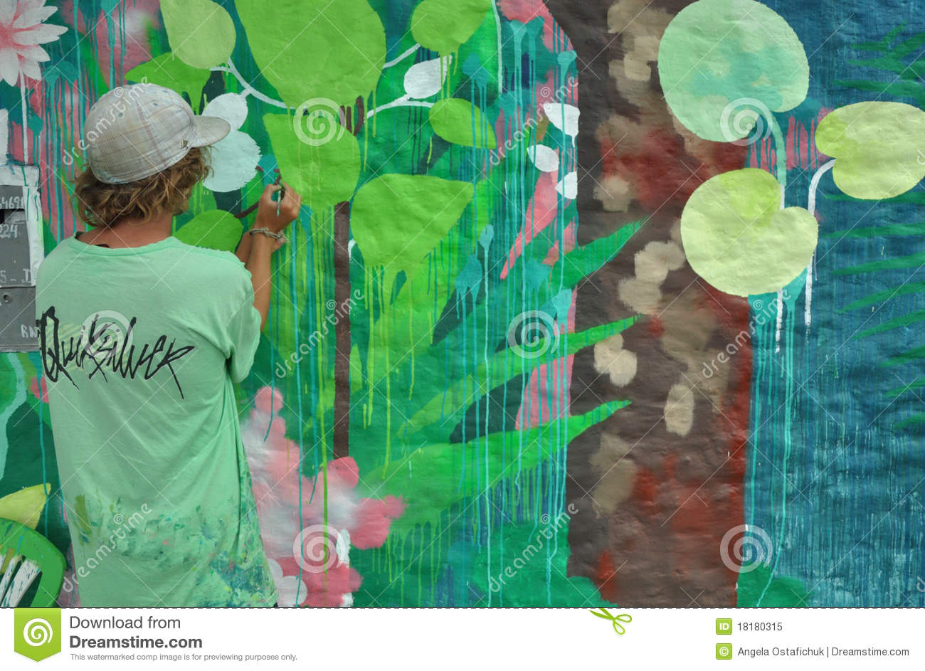 Jungle Dreams Wall Mural Painter Painting A Wall Mural Editorial Image Image