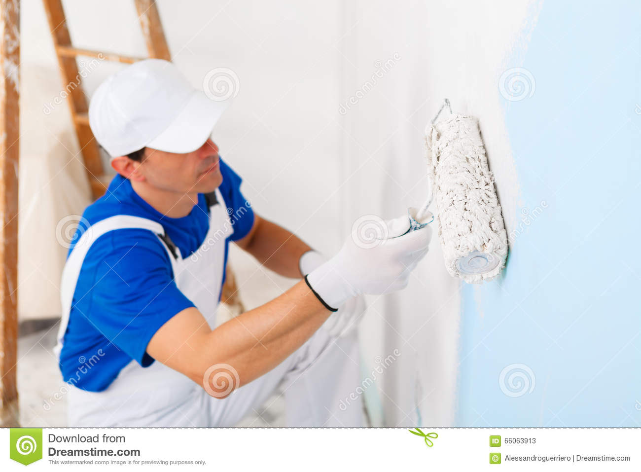 Painter Painting A Wall With Paint Roller Stock Photo - Image ...