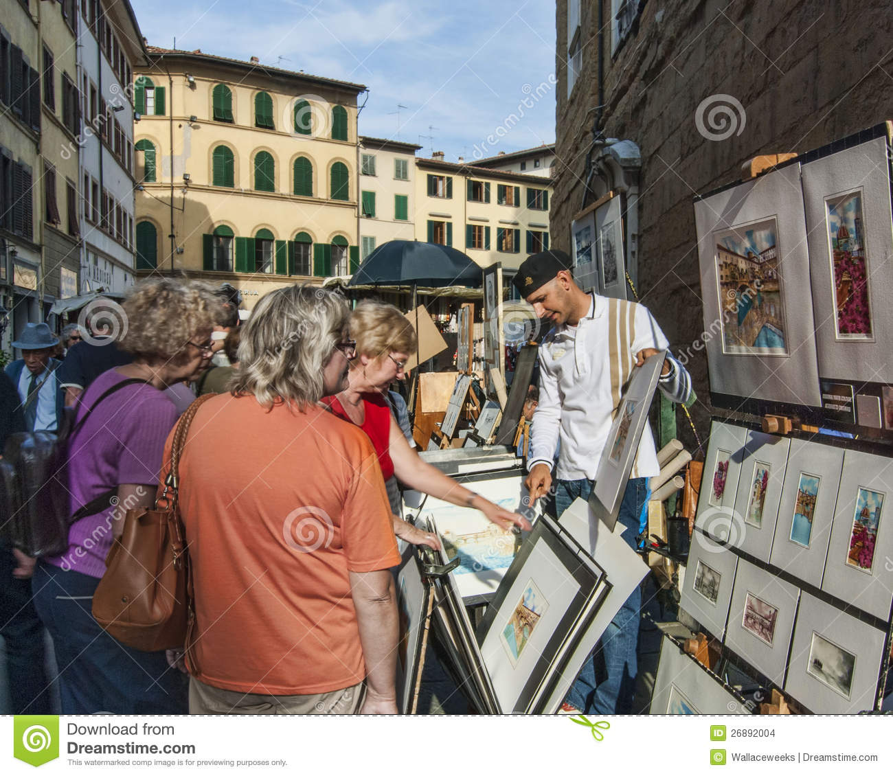 Painter selling art on the street editorial stock image for Sell art prints online