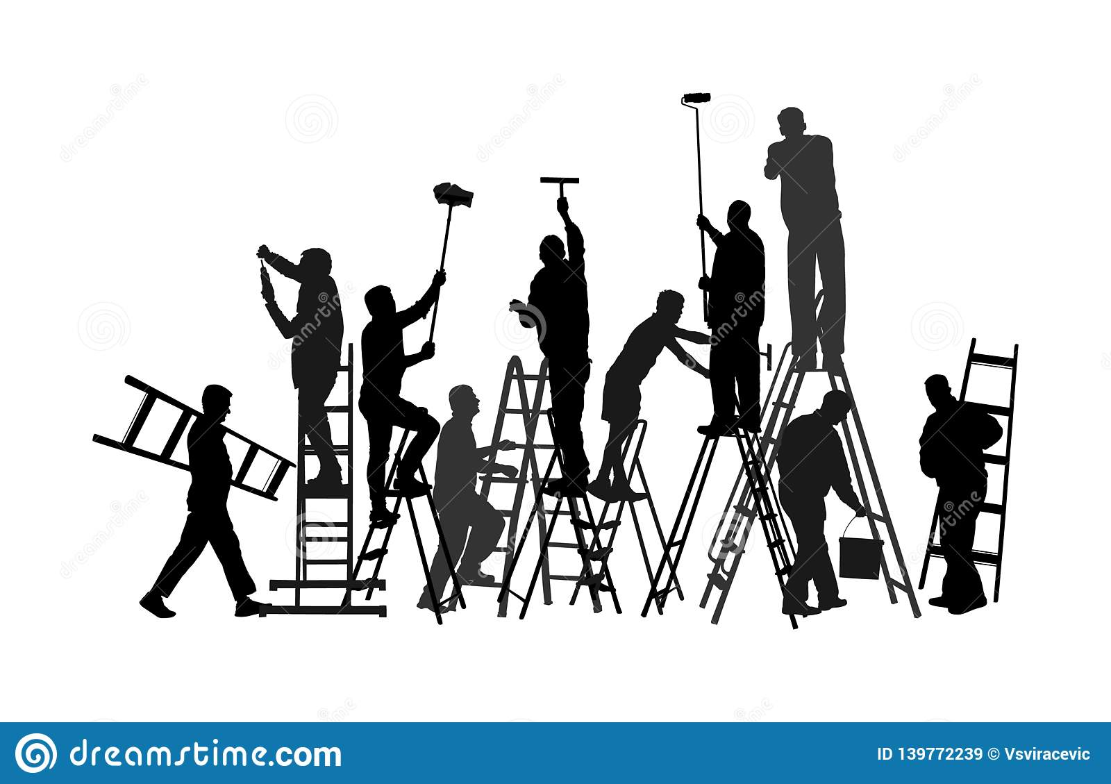 Painter workers on ladder vector silhouette isolated on white background. Man decorator painting wall with paint brush roller.