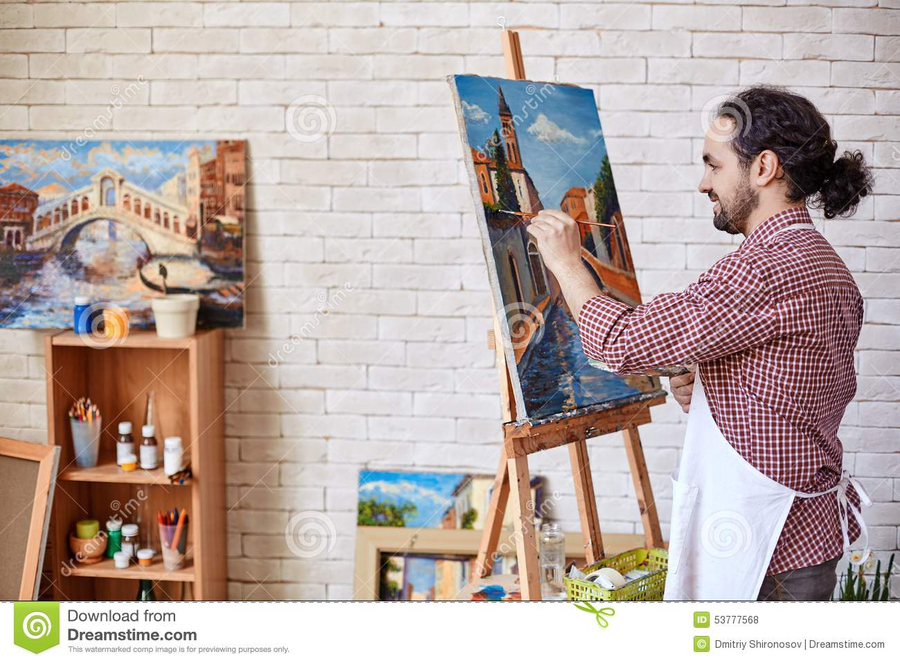 Painter Working Stock Photo Image 53777568
