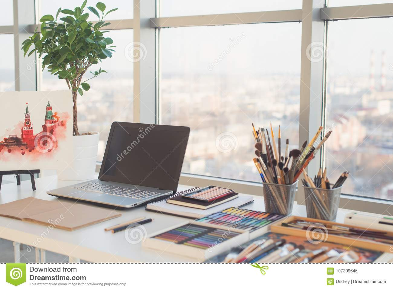 Download Painter Workplace In Order Side View. Designer Desk With Drawing  Equipment. Home Studio