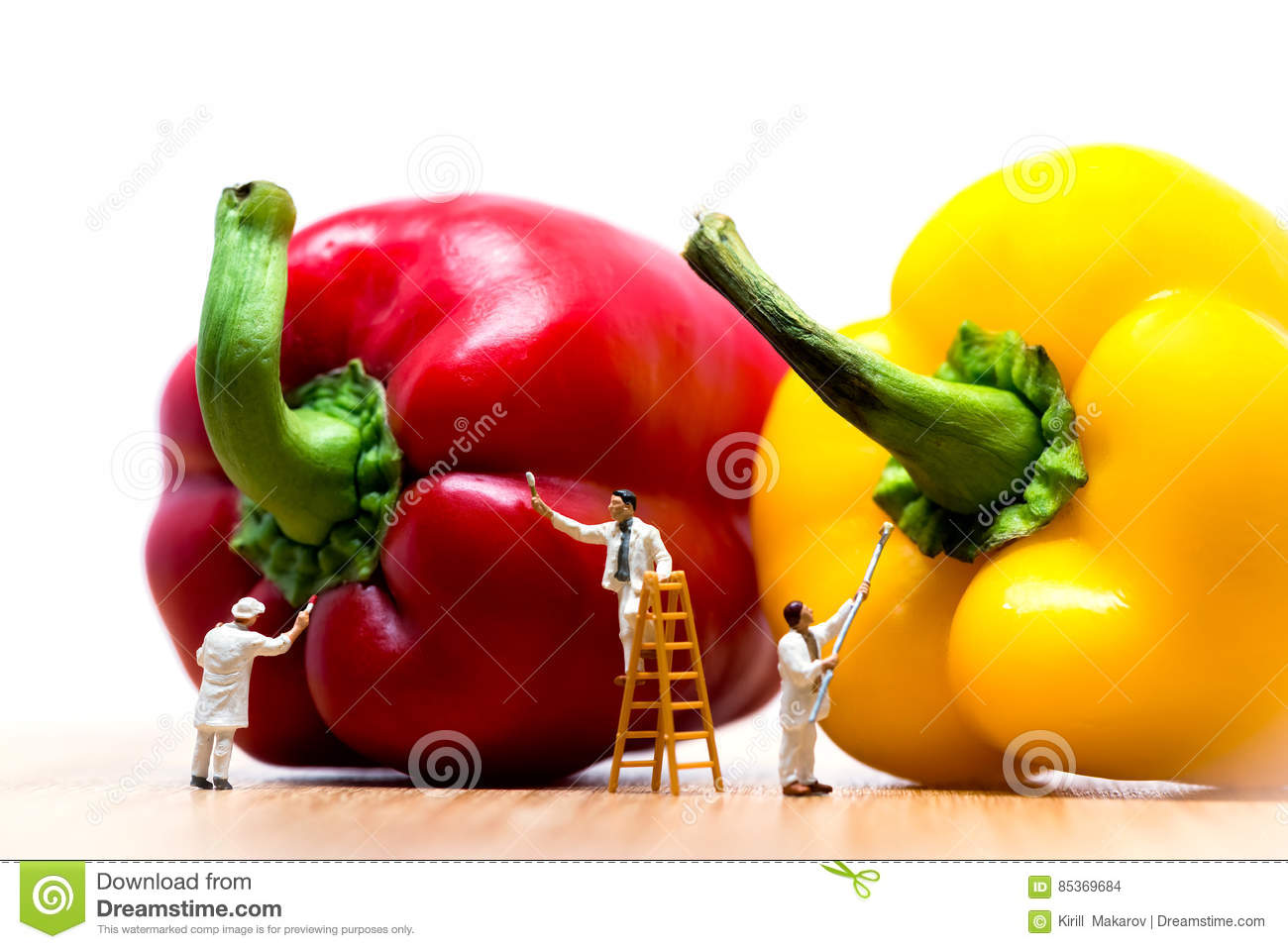 Painters coloring bell pepper. Macro photo