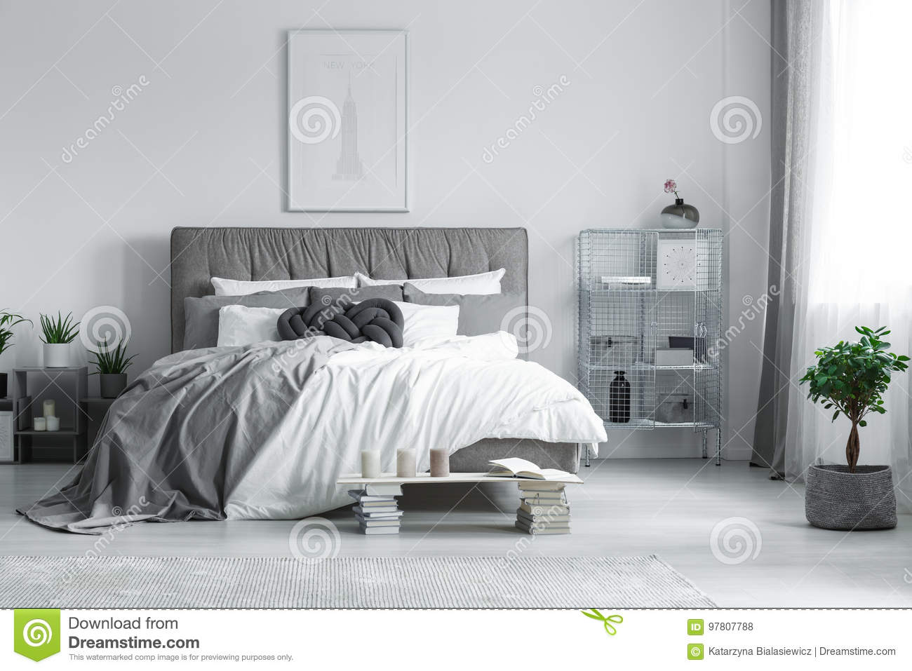 Download Painting Above The Bed Stock Photo. Image Of Bedroom   97807788