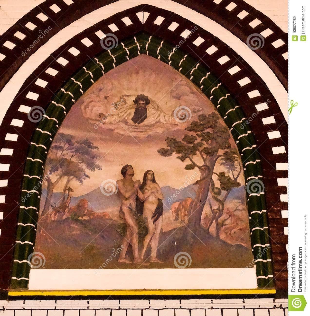 A Painting Of Adam And Eve In The Garden Of Eden In A Church Or ...