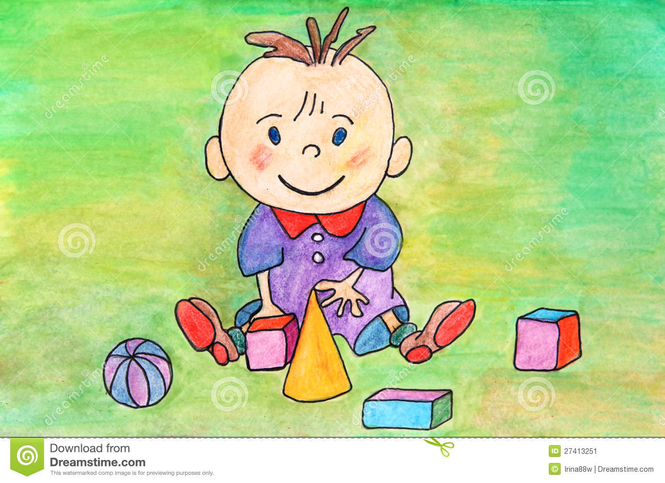 Painting Of Baby Boy Playing With Toys Stock Illustration