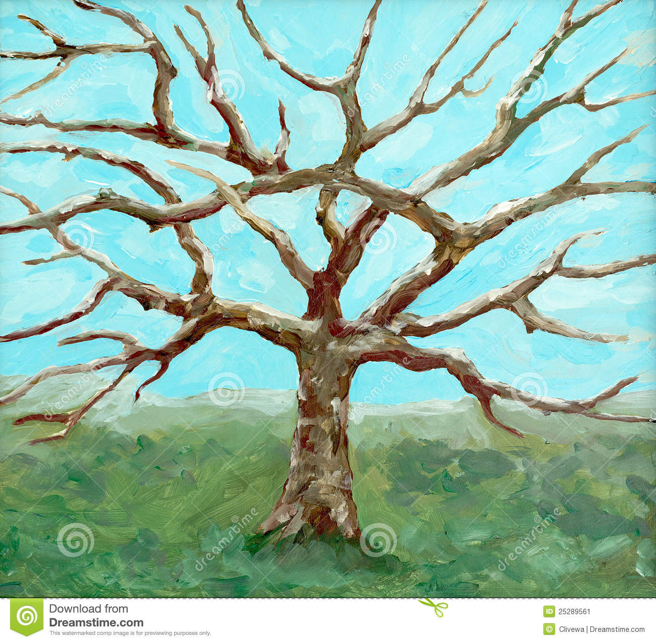 Painting Of A Bare Leafed Tree Stock Image Image 25289561