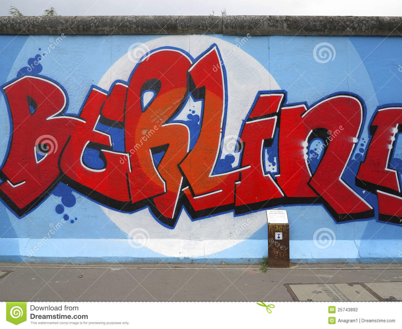 Painting On Berlin Wall At East Side Gallery Editorial