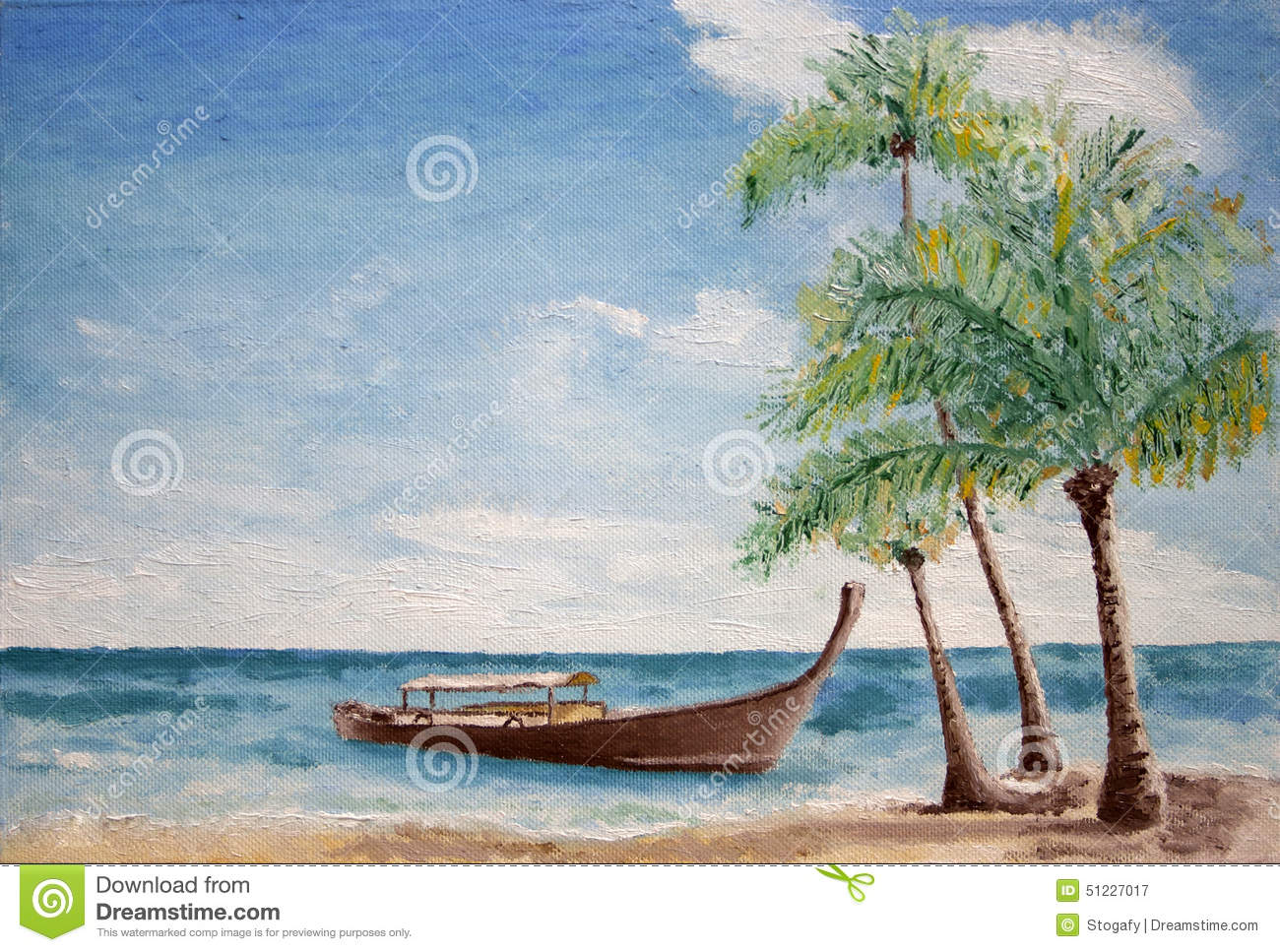 Oil painting of gondola style boat with canopy in the sea anchored ...
