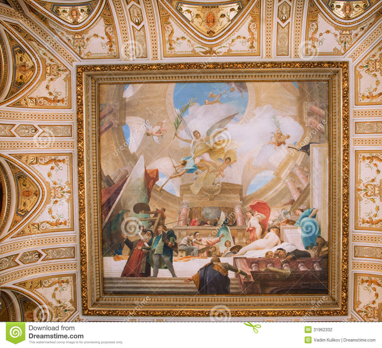 painting on ceiling of the museum editorial photography