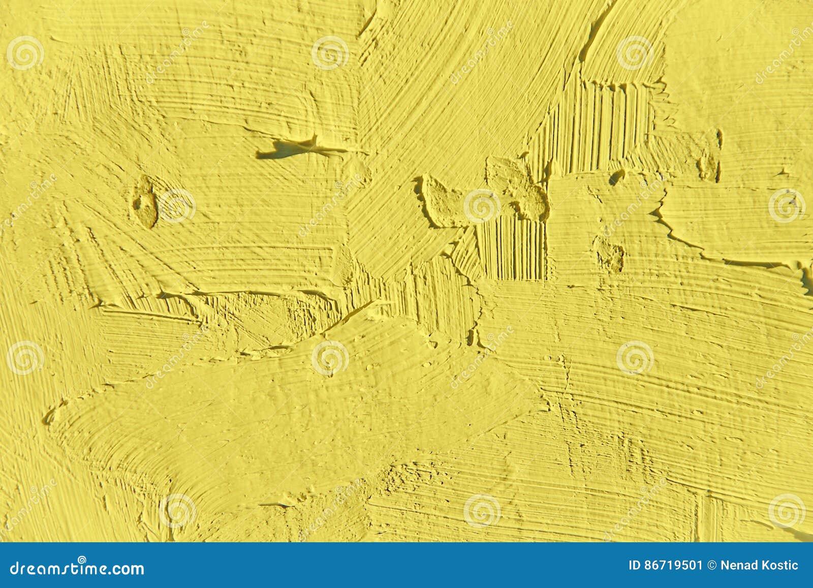 Painting closeup texture.Plain light yellow color