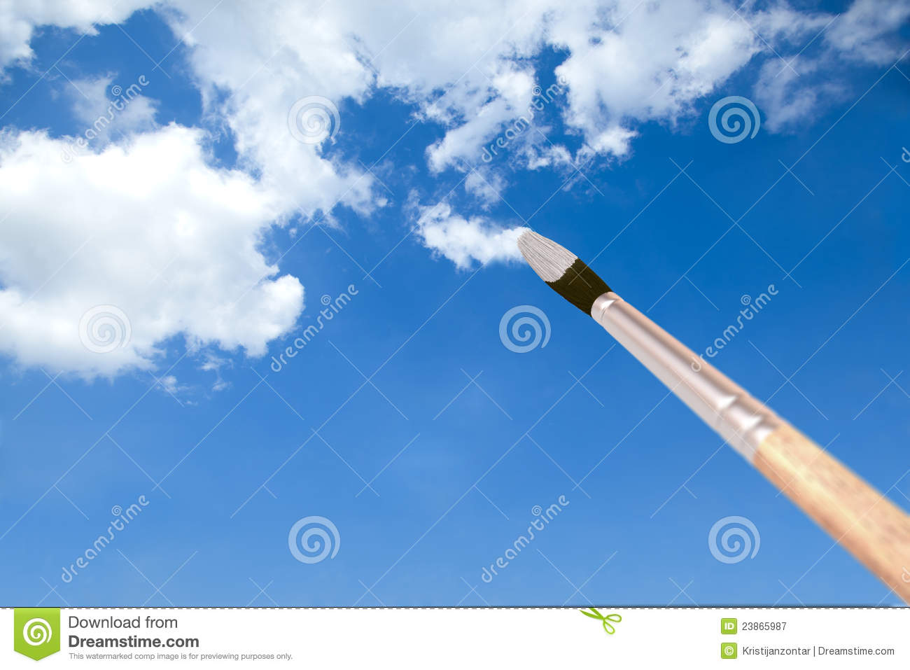 painting clouds with a paintbrush stock image image of dream