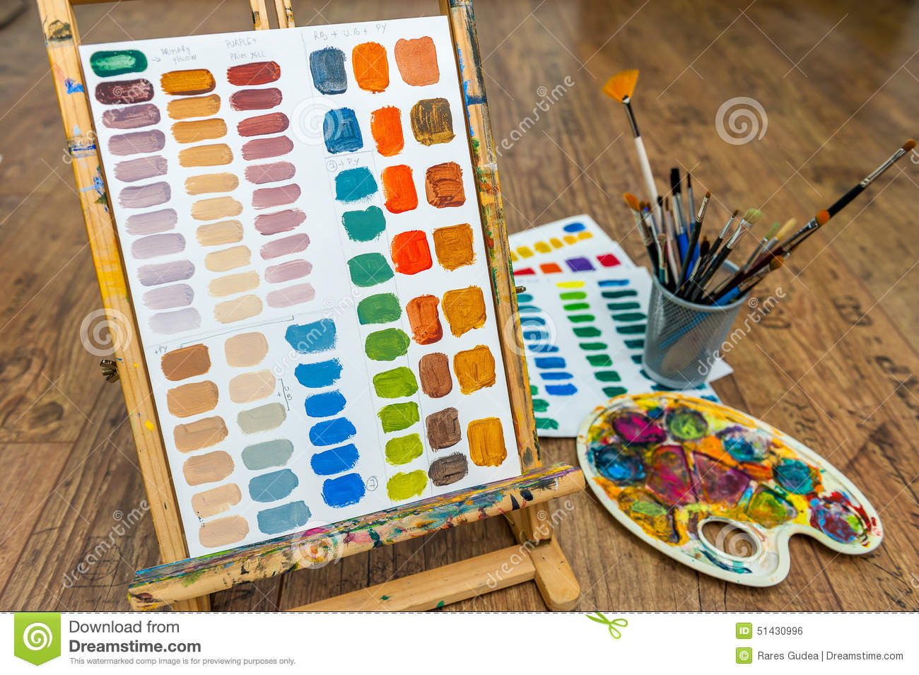 painting color exercise mixing colors with easel brushes and pallete stock illustration image. Black Bedroom Furniture Sets. Home Design Ideas