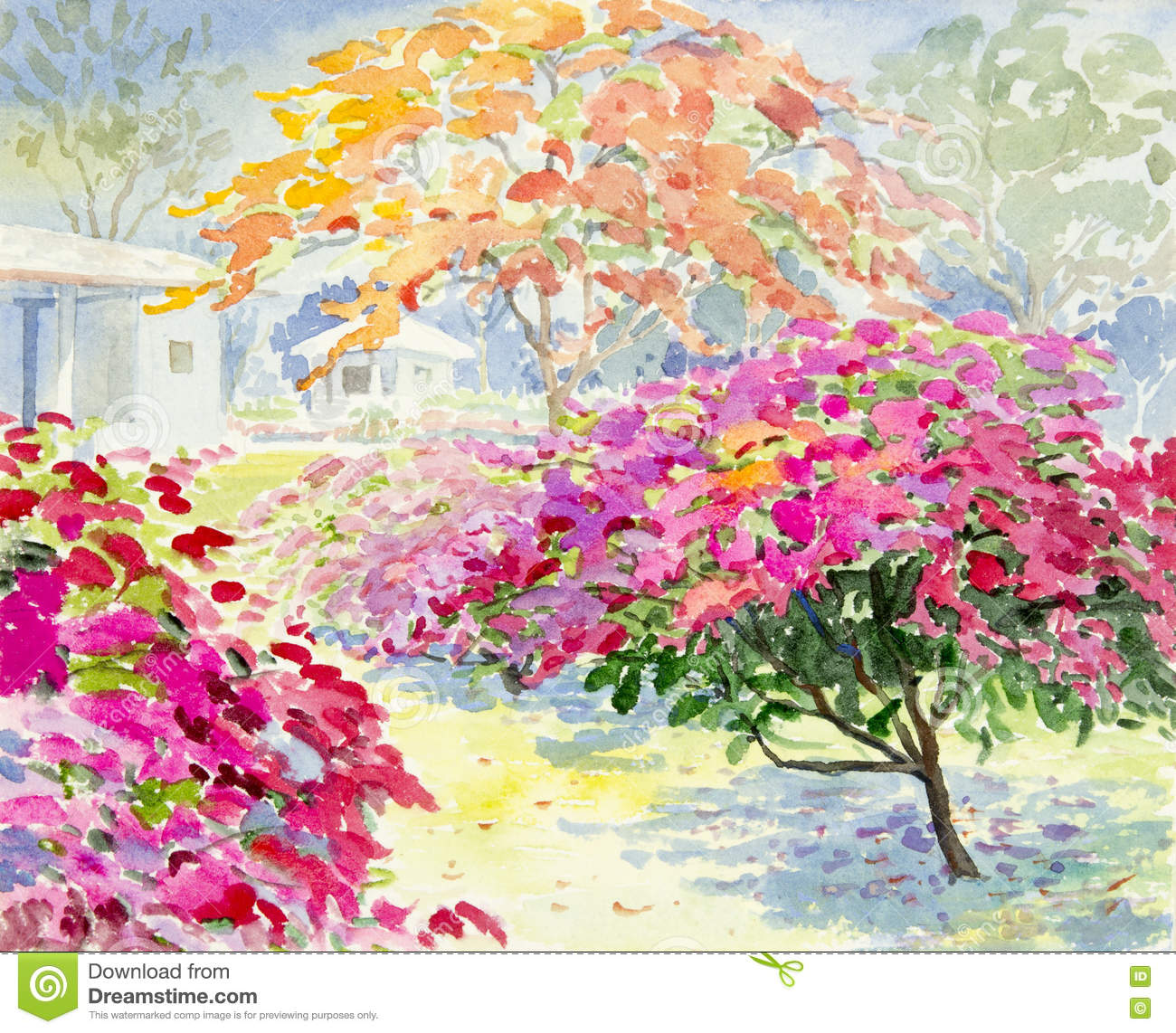 Painting Colorful Of Paper Flower In Garden Stock Illustration ...
