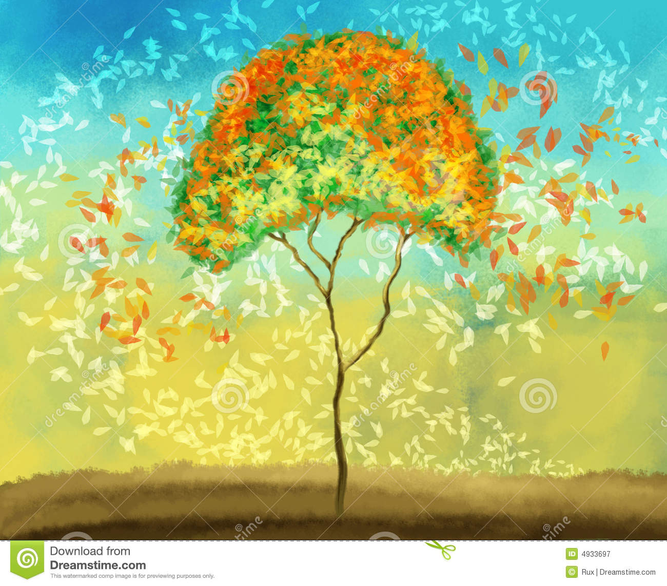 Painting of colorful tree stock illustration. Illustration of nature ...