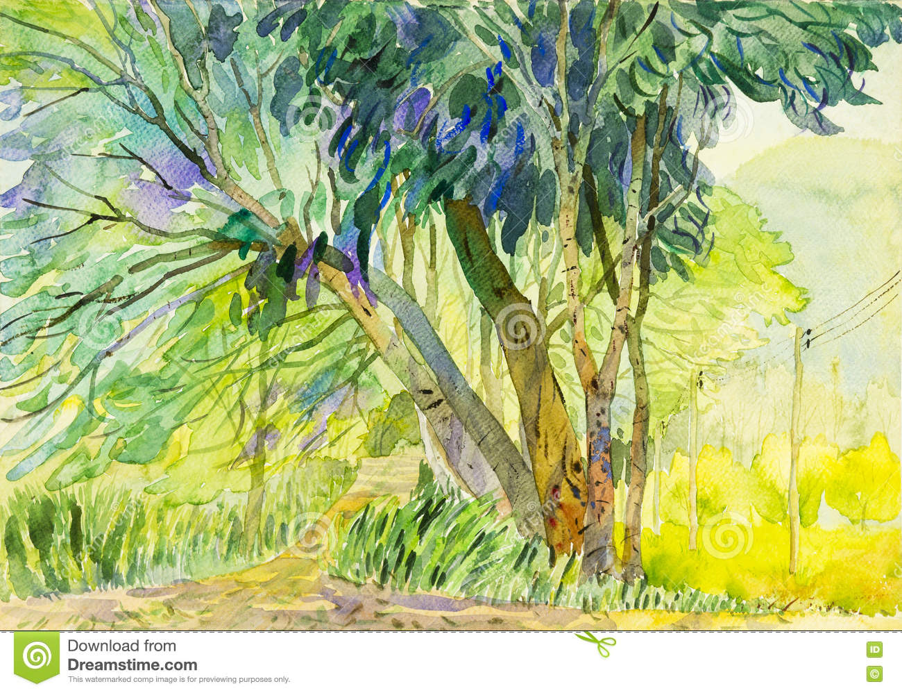 Painting Colorful Of Tree And Emotion In Mountain Background Stock ...