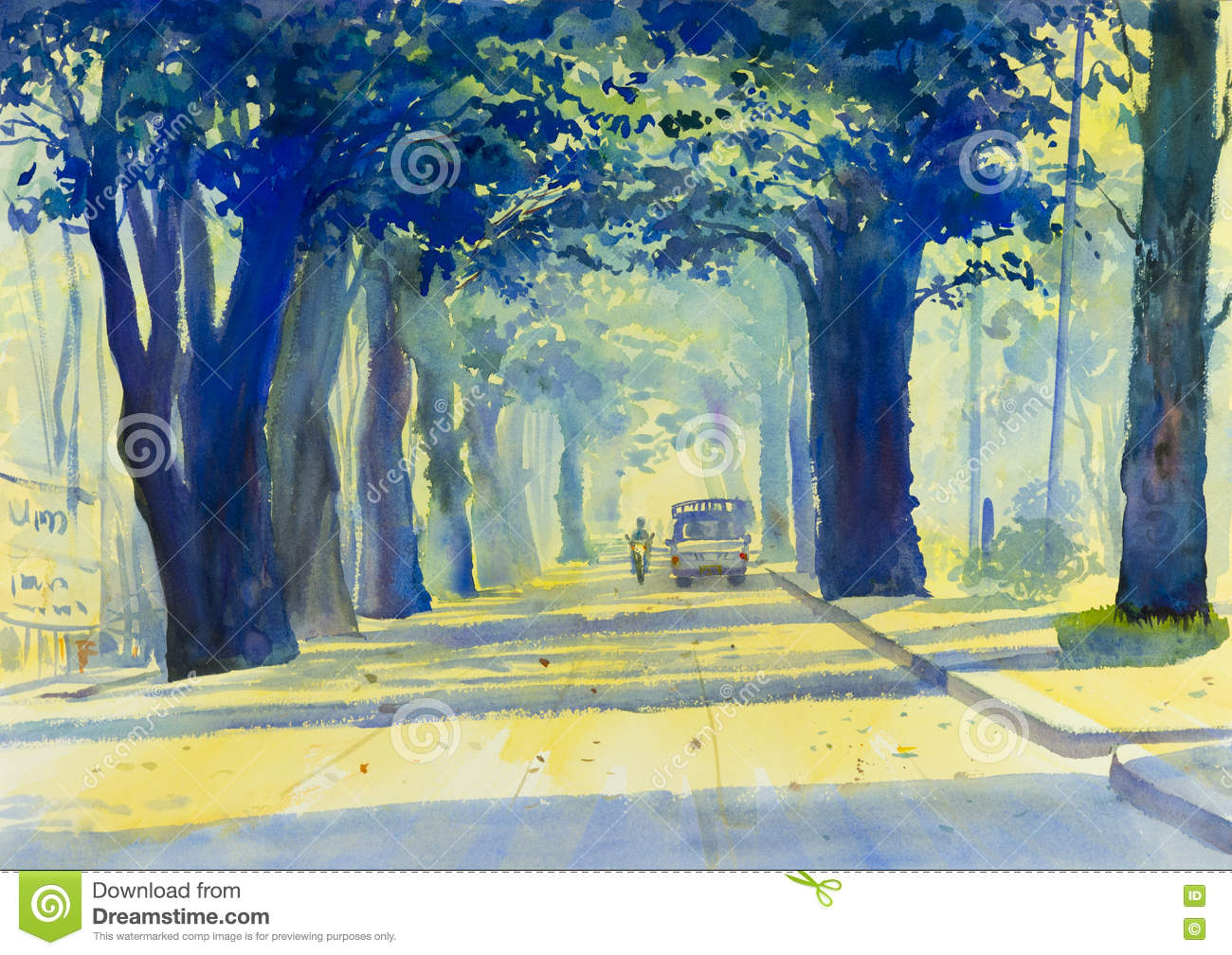 Painting Colorful Of Tunnel Of Trees In Countryside And Emotion ...