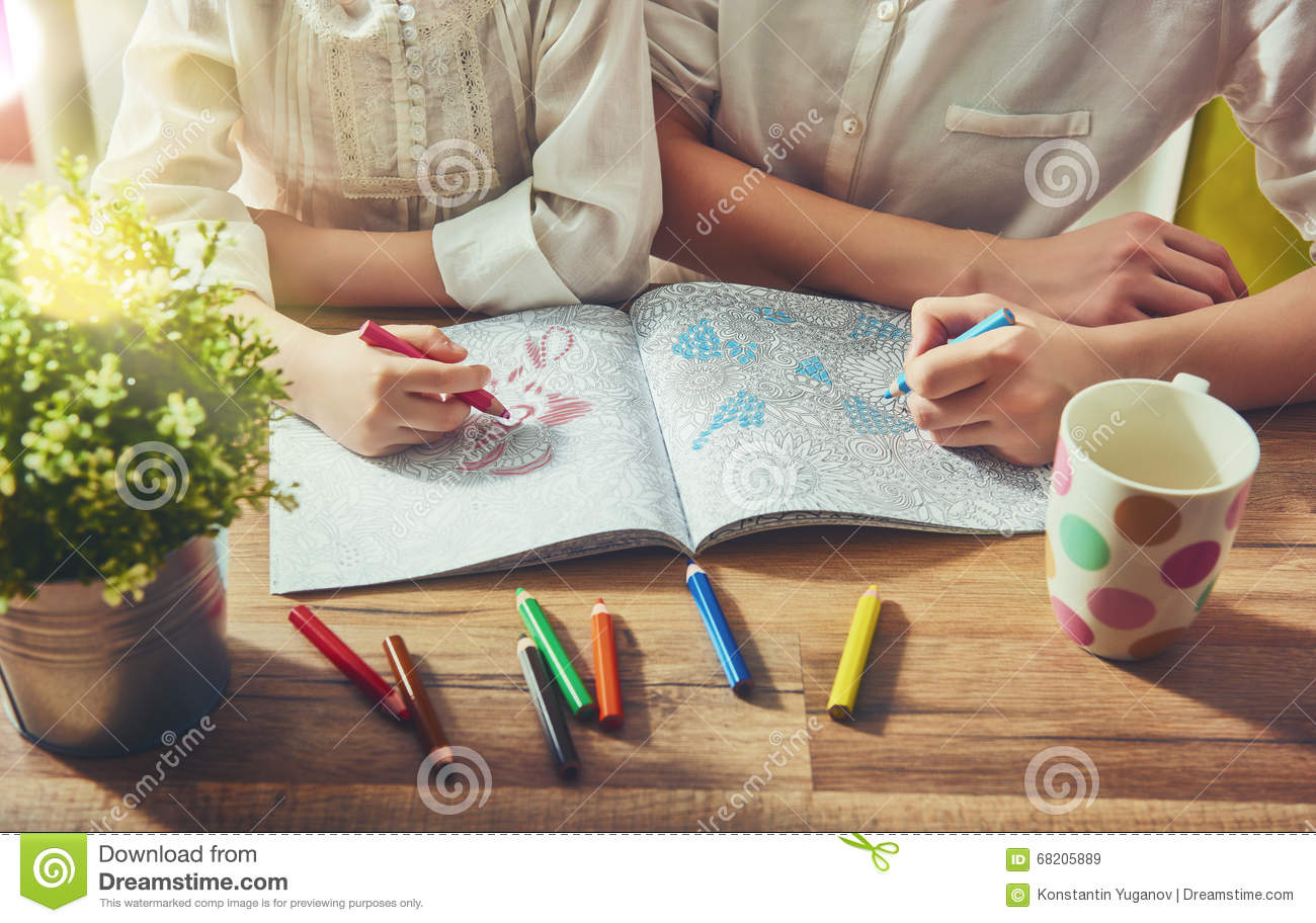 Painting A Coloring Book Stock Photo Image 68205889
