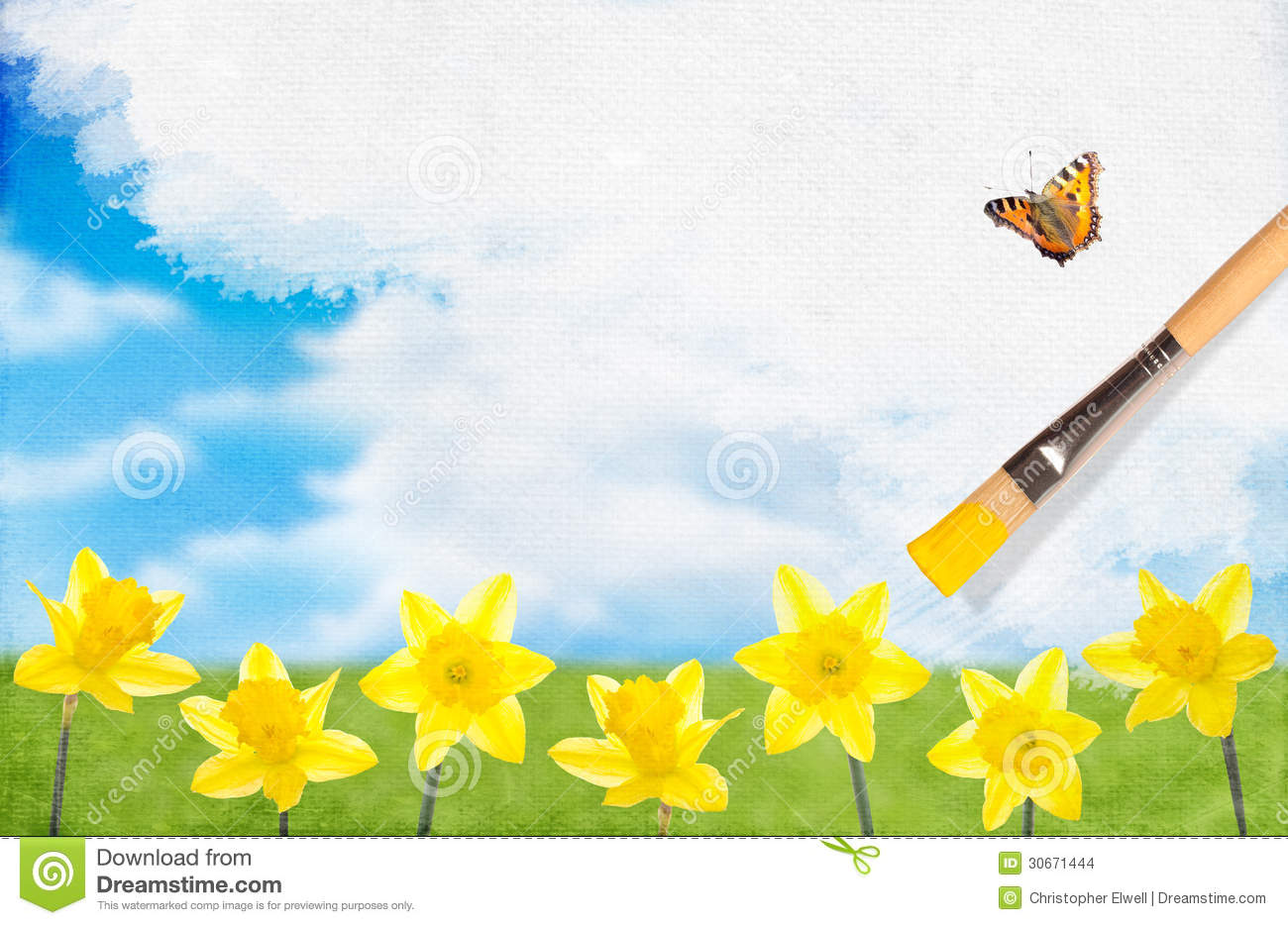 Painting Daffodils Stock Images Image