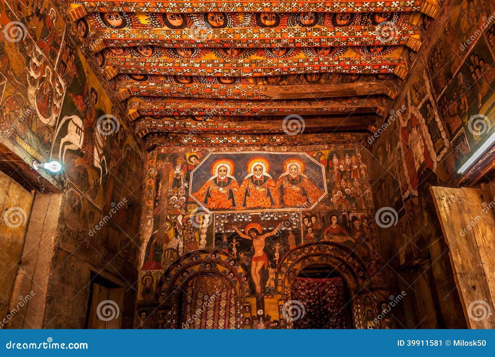 Painting In Debre Birhan Selassie Church ,Gondar Editorial Photo ...