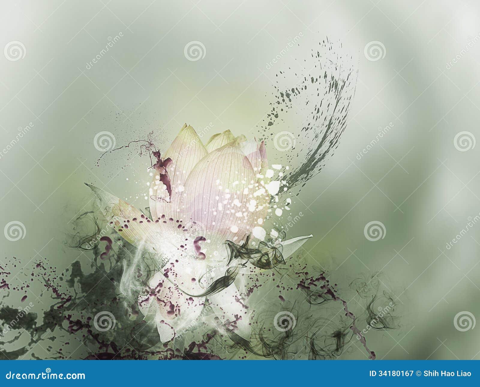 Painting Depicting Blooming Lotus Flower Stock Image Image Of