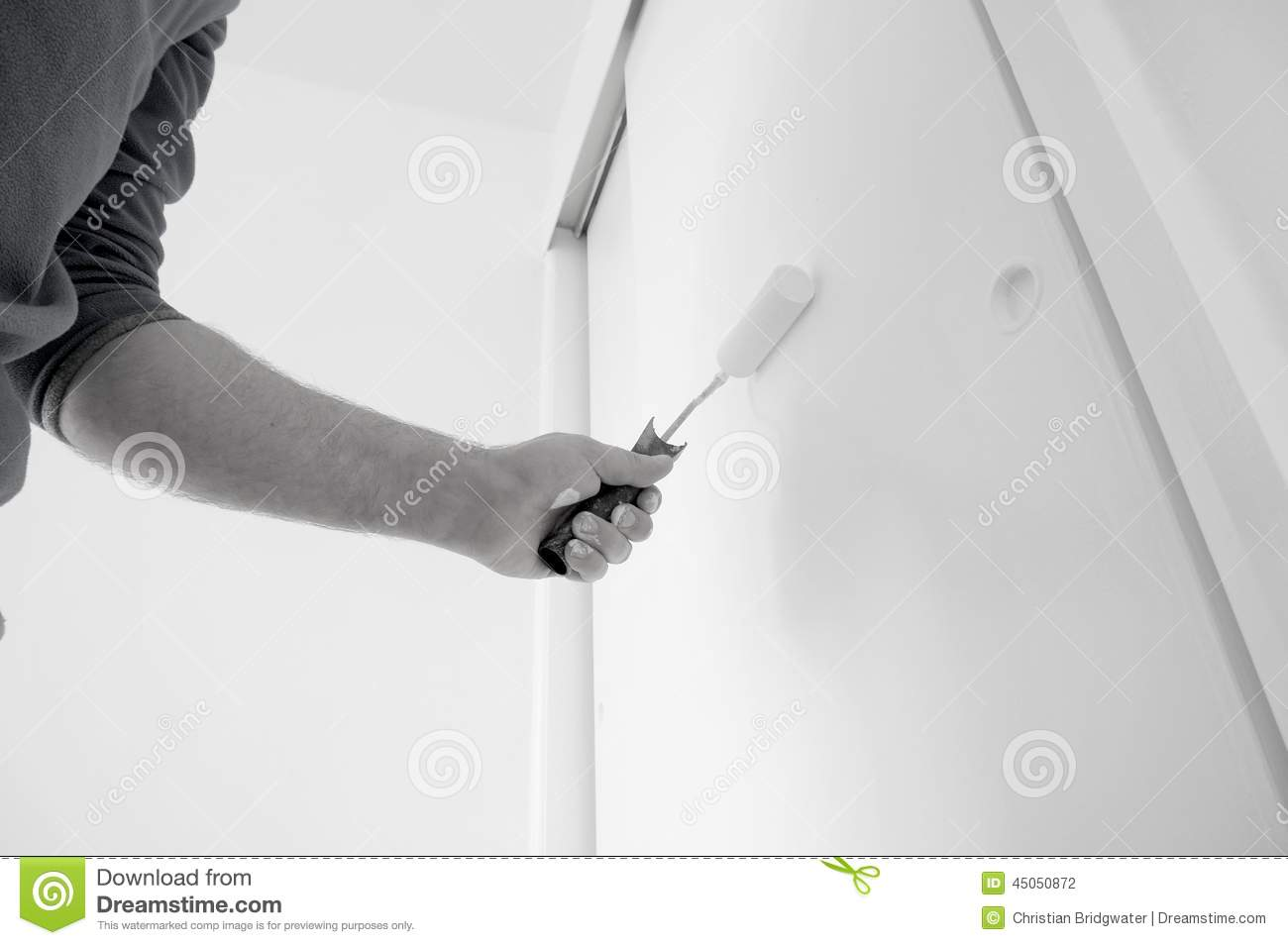 How To how to paint a door with a roller images : Painting door roller B stock photo. Image of paint, wood - 45050872