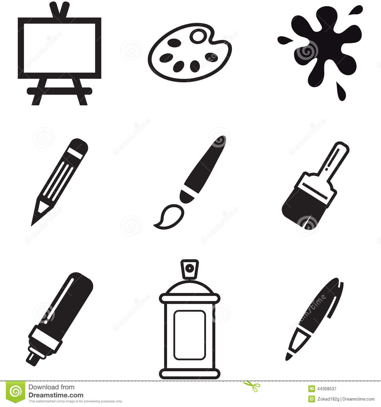 Painting Or Drawing Tools Icons Stock Vector Image 44308537