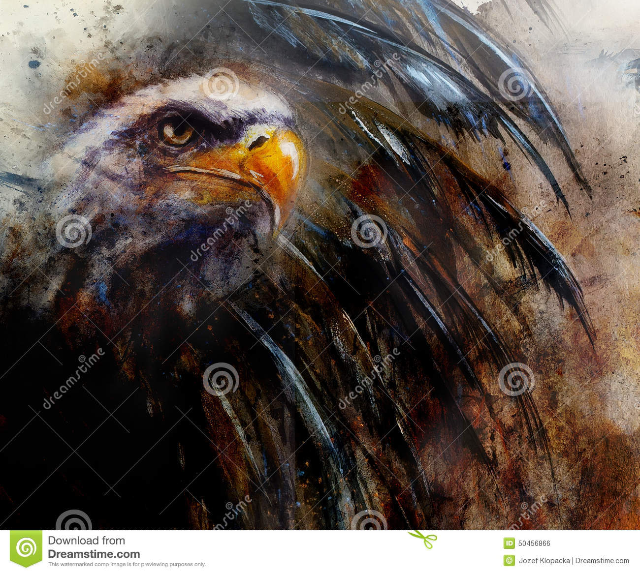 Painting Of Eagle On An Abstract Background Usa Symbols Freedom