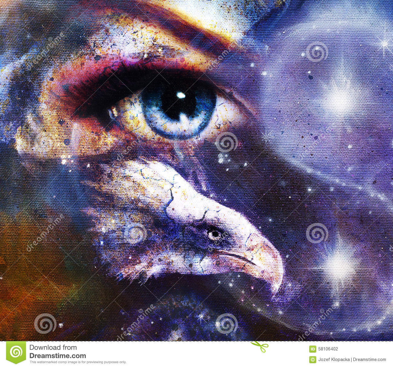 painting eagle with woman eye on abstract background and ying yang free vector logo Free Tree Vector Art Downloads