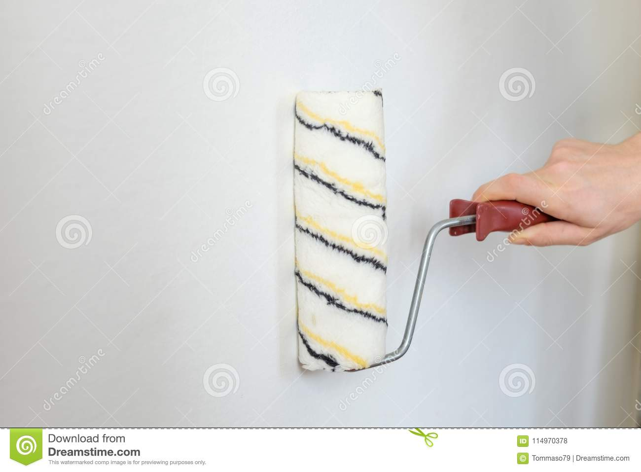 Painting Equipment Tools On A White Wall Stock Photo Image Of