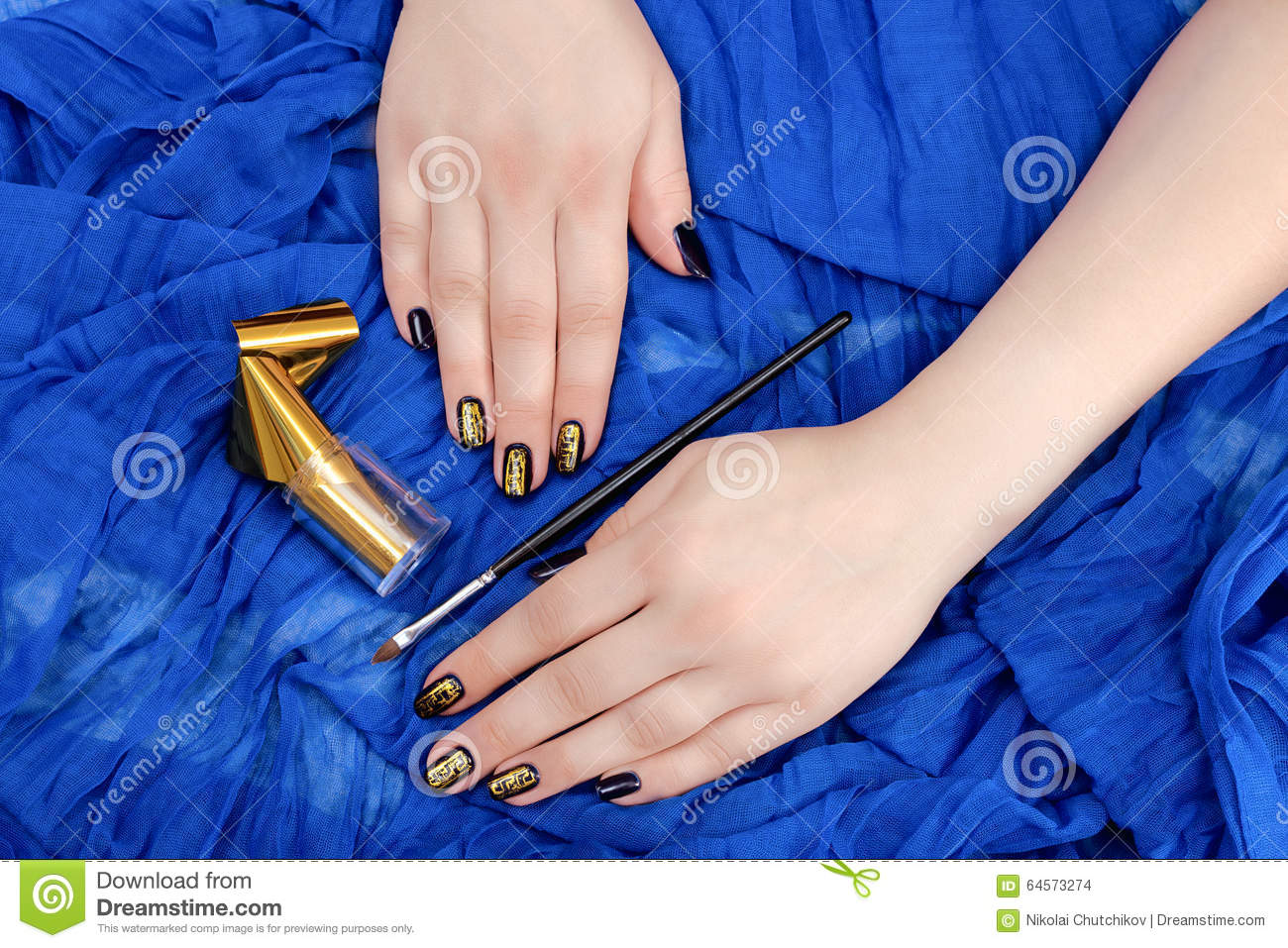 Painting Fingers With Dark Blue Nails Stock Photo - Image of girl ...