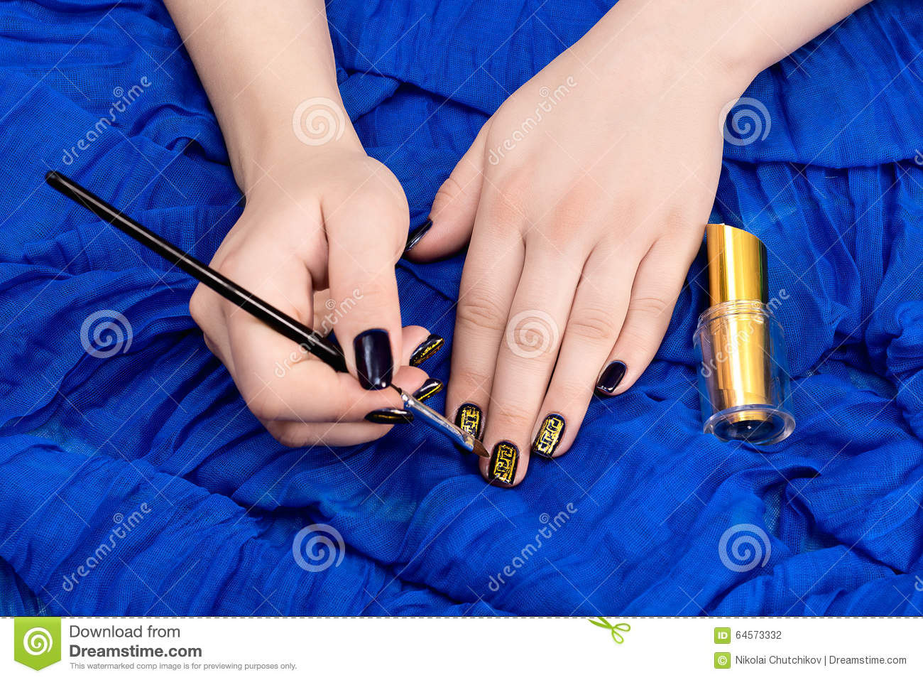 Painting Fingers With Dark Blue Nails Stock Photo - Image of beauty ...