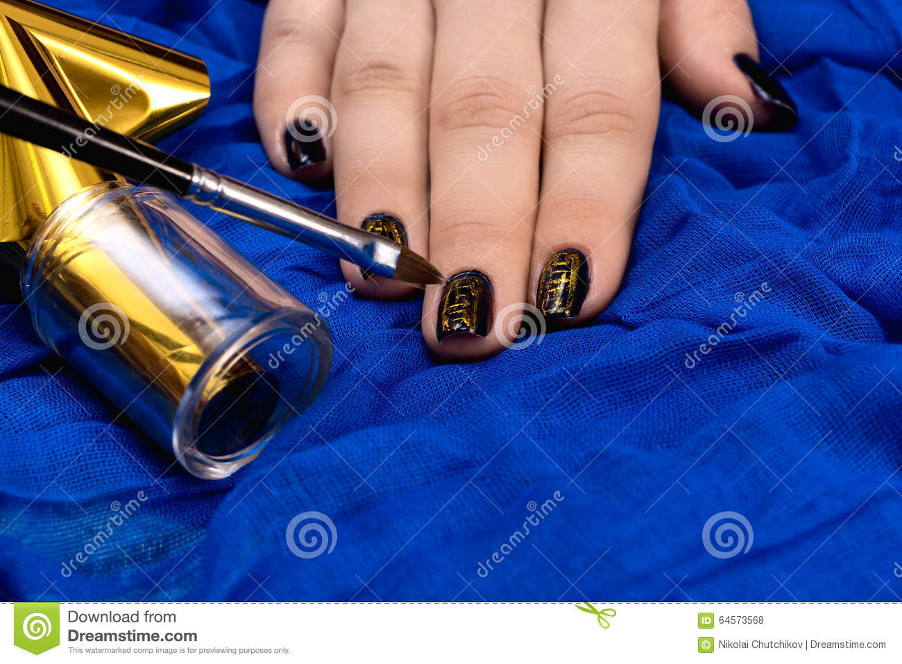 Painting Fingers With Dark Blue Nails Stock Photo - Image of design ...