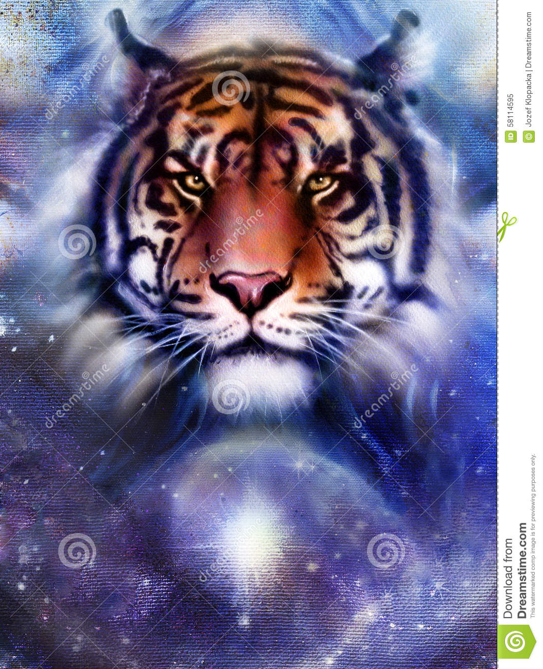Painting Fire Tiger On Color Space Background Wildlife