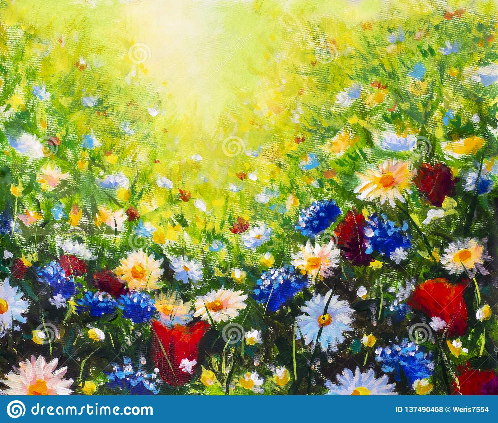 Painting Flower Modern Colorful Wild Flowers Stock Photo Image Of Field Landscape 137490468