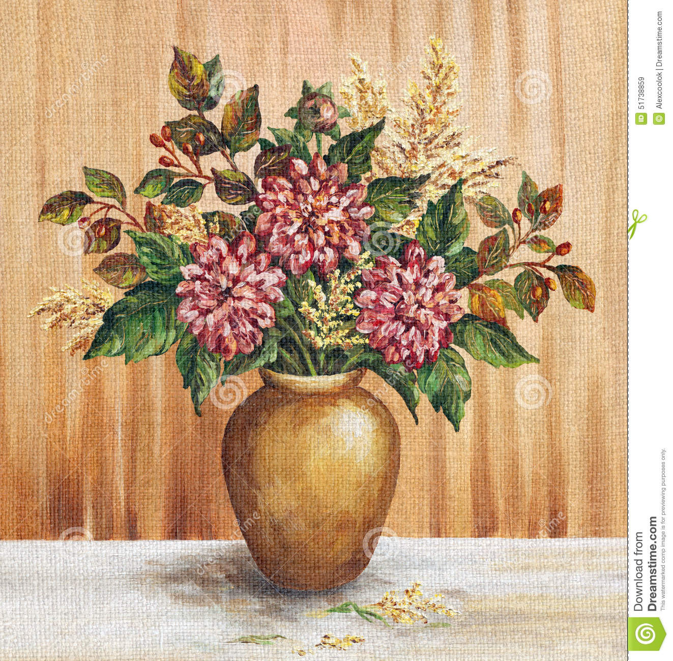 Painting flowers dahlias in a vase stock illustration painting flowers dahlias in a vase floridaeventfo Images