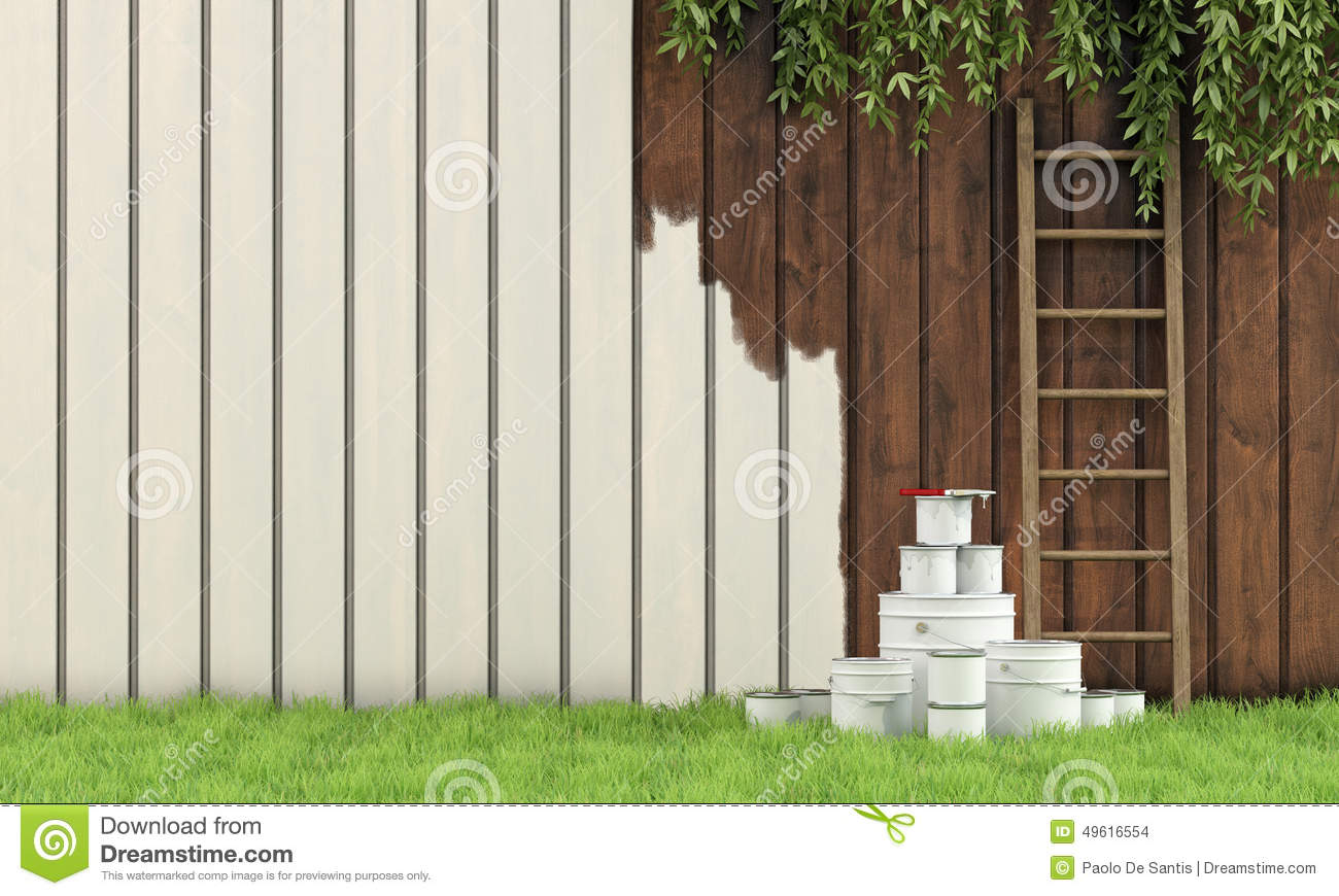 Painting The Garden Fence Stock Illustration Image 49616554