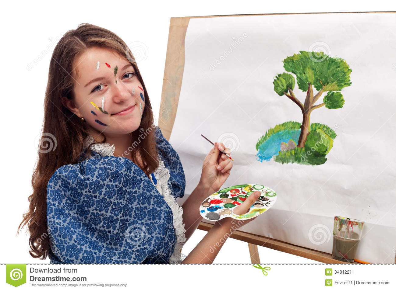 Painting girl stock image image 34812211 for Teen age girl picthar